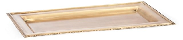"16"" Rectangular Tray, Brass"