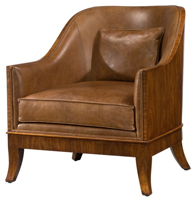 At Ease Leather Club Chair, Mocha