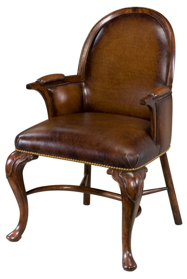 Windsor Leather Accent Chair, Chocolate