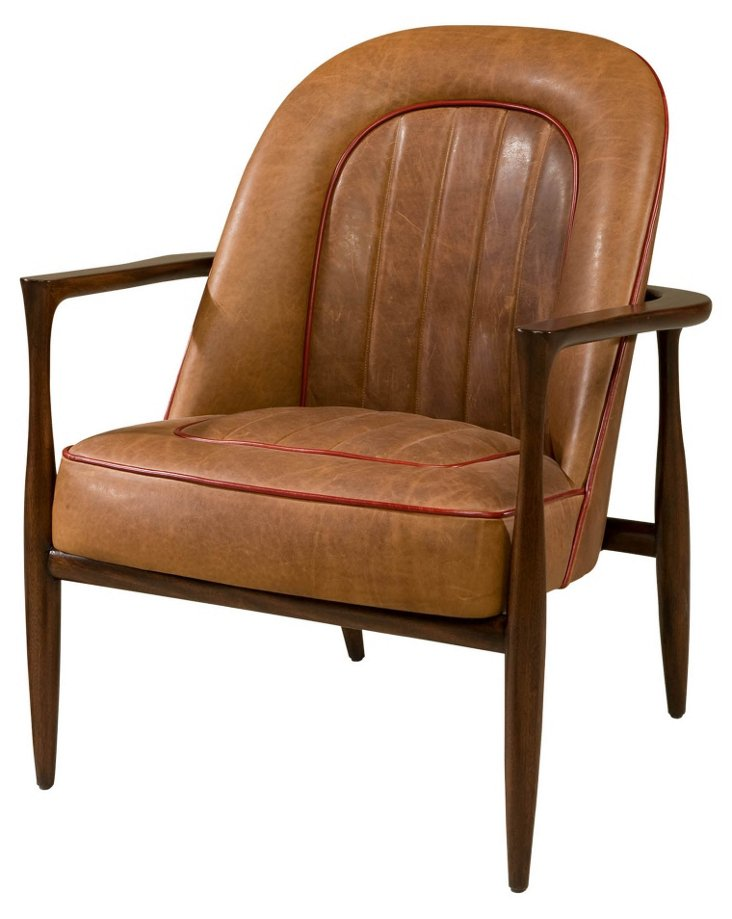 Drive Leather Chair, Raw Umber/Red