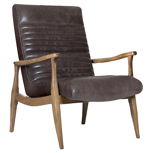 Erik Panel Chair, Wolf-Gray Leather
