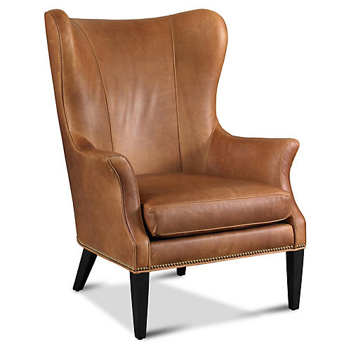 Tristen Wingback Chair, Saddle Leather