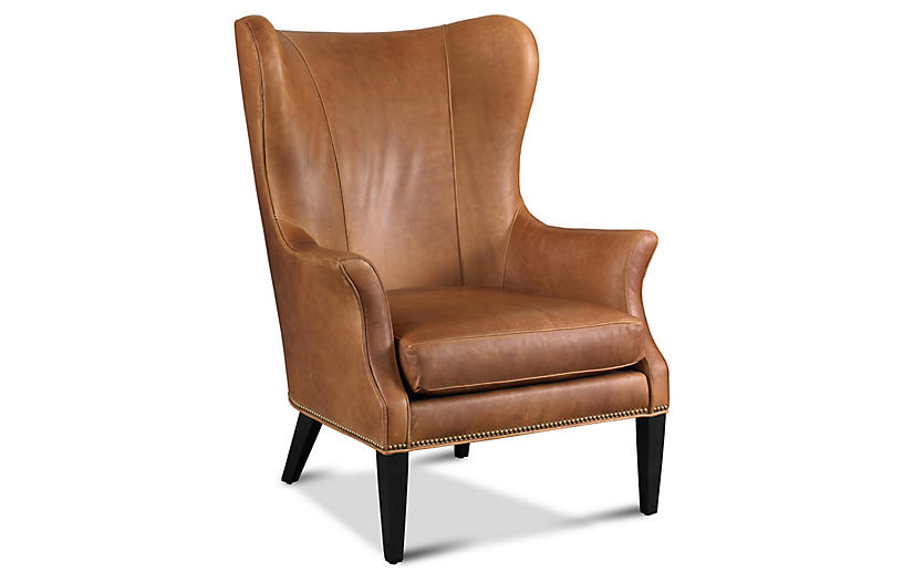 Tristen Wingback Chair Saddle Leather Wingback Chairs Chairs