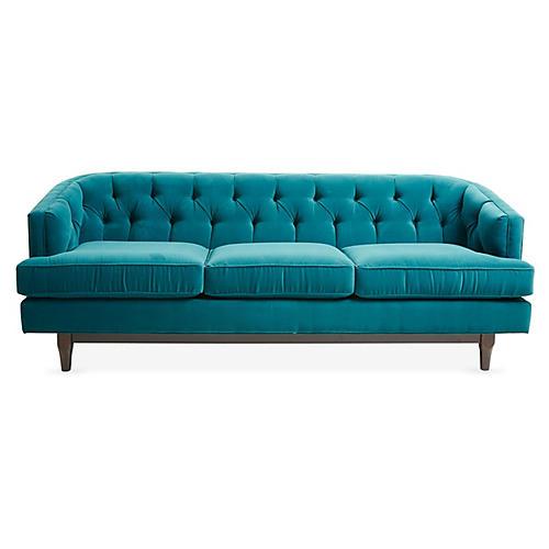 Emma Tufted Sofa, Peacock Velvet