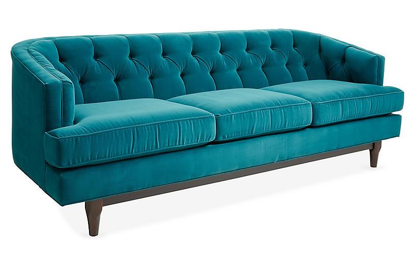 Emma Tufted Sofa Peacock Velvet Sofas Amp Settees