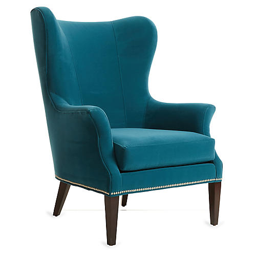 Tristen Wingback Chair, Peacock Velvet