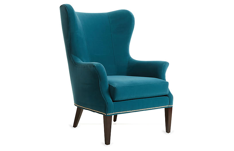 Remarkable Tristen Wingback Chair Peacock Velvet Alphanode Cool Chair Designs And Ideas Alphanodeonline
