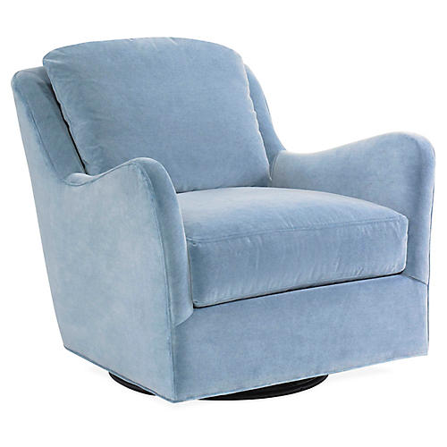 Savannah Swivel Club Chair, Light Blue Velvet