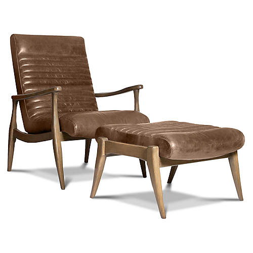 Erik Accent Chair & Ottoman Set, Light Caramel