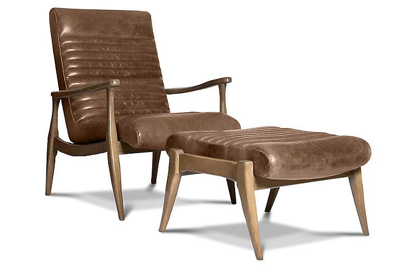 Erik Accent Chair & Ottoman Set, Light Caramel