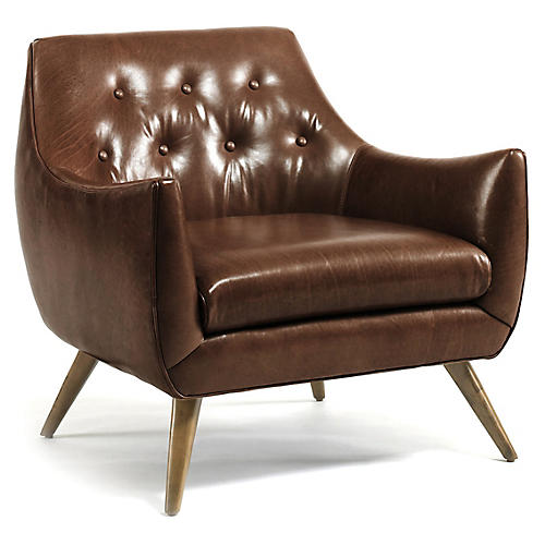 Marley Club Chair, Caramel Leather