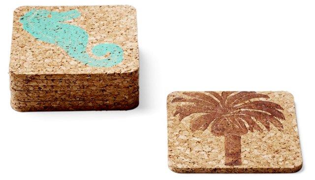 Asst of 8 Aqua & Brown Coasters