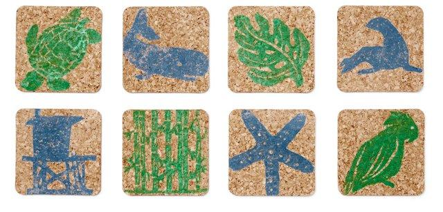 S/8 Assorted Sea Coasters, Blue/Green
