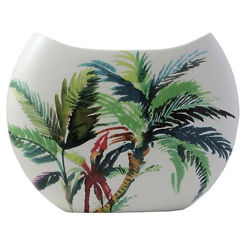 """15"""" Jardins Wide Vase, White/Multi"""
