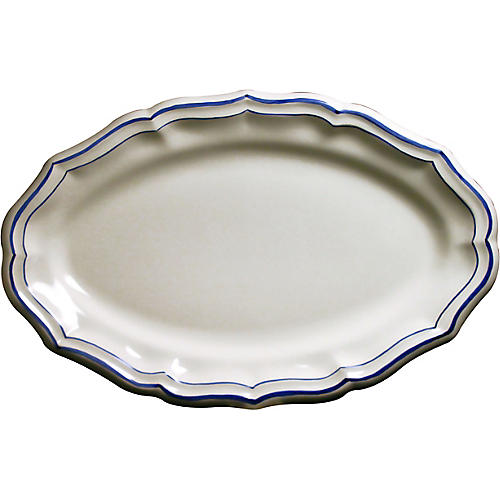 Fliet Bleu Oval Serving Platter, White/Blue