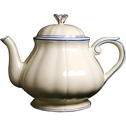 Fliet Bleu Teapot, White/Blue
