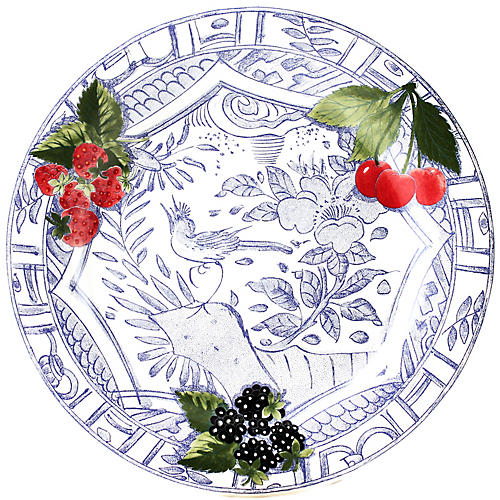 Oiseau Dinner Plate, Blue/White