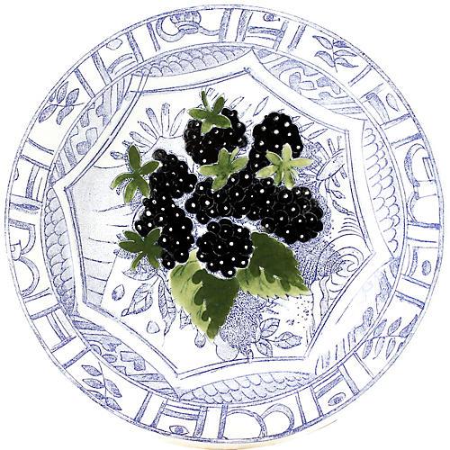 Oiseau Blackberry Canape Plate, Blue/White