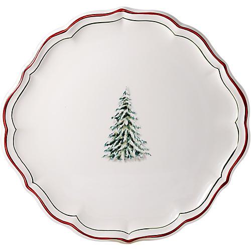 Noel Cake Platter, White/Multi