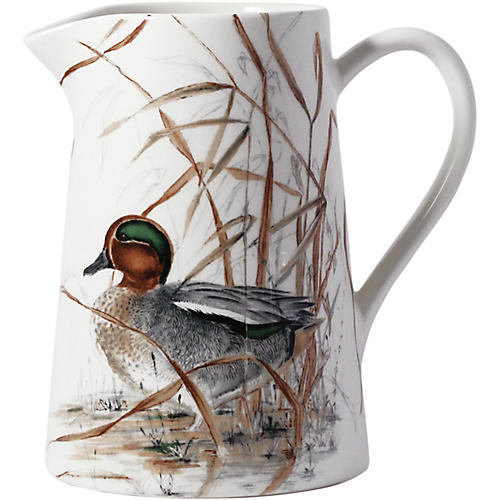 Sologne Duck Pitcher, White/Multi