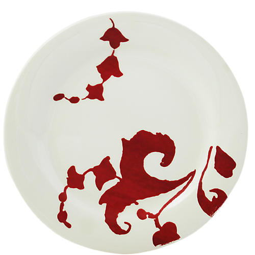 Garance Canapé Plate, White/Red