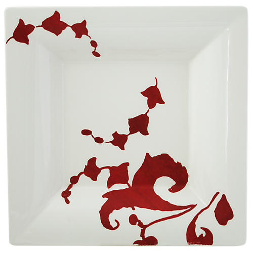 Garance Square Candy Tray, White/Red