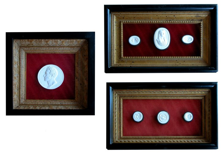 French Plaster Intaglios, Set of 3