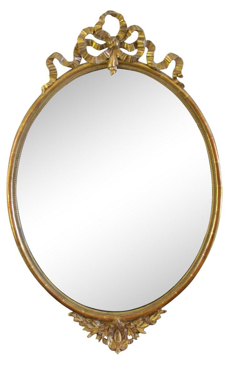 Oval Giltwood Mirror w/ Ribbon Crest