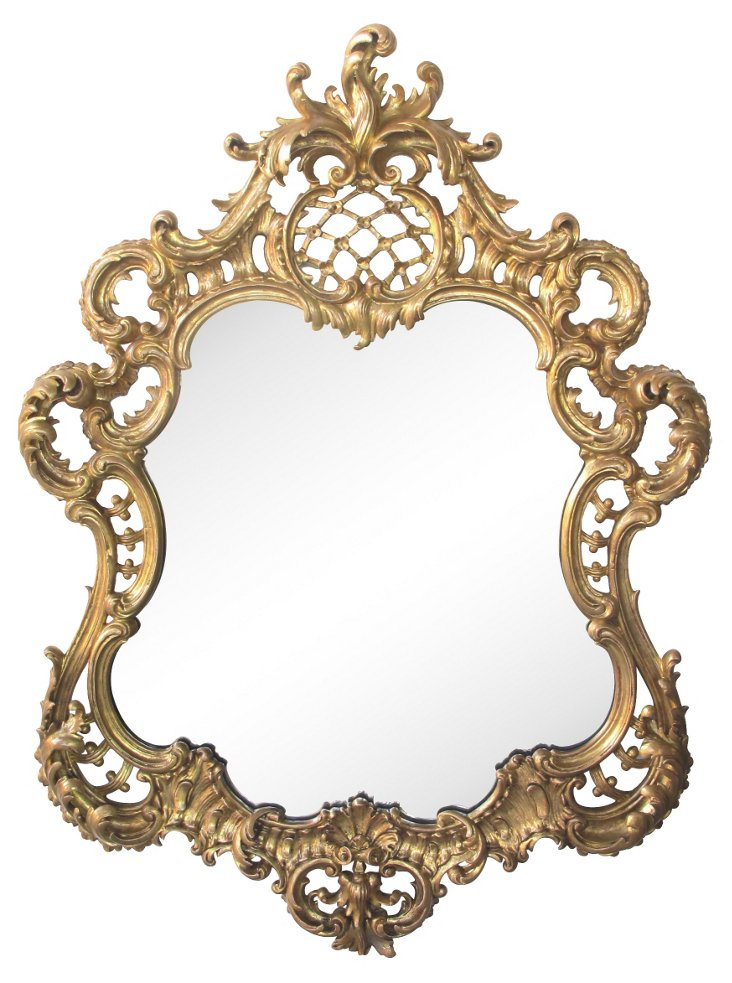 Giltwood Cartouche-Shaped Mirror