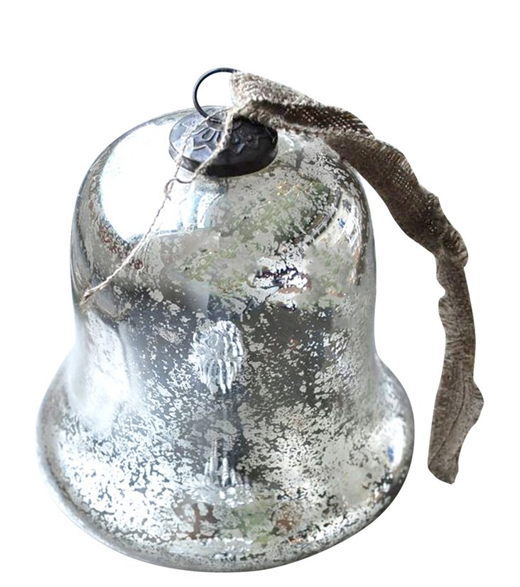 Silver Antique Bell Ornament, Glass