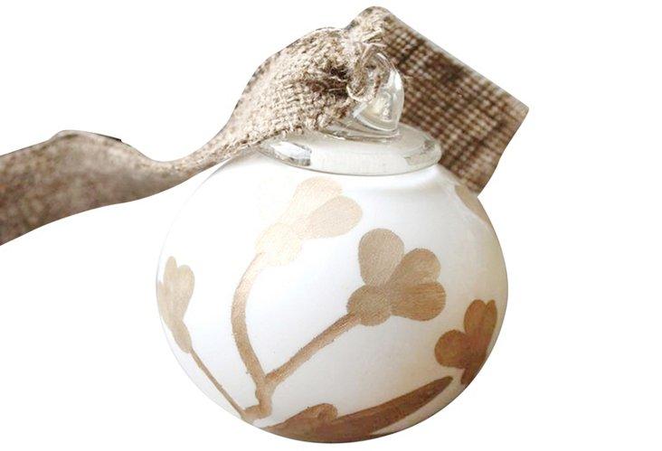 Glass Ball Ornament, White & Gold