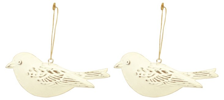 S/2 Iron Brushed Bird Ornaments, Cream