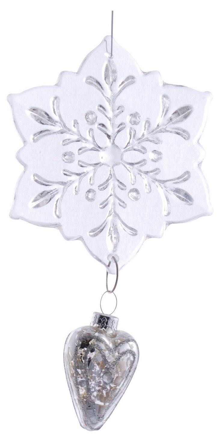 "6"" Snowflake & Heart Ornament"