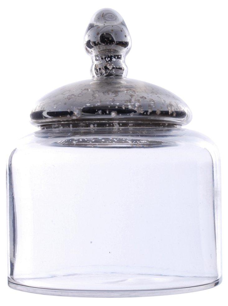 """9"""" Glass Jar w/ Silver Top"""