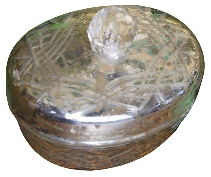 Mercury Art-Glass Decorative Box, Silver