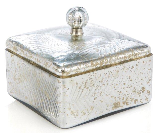 """8"""" Square Box w/ Garland, Silver"""