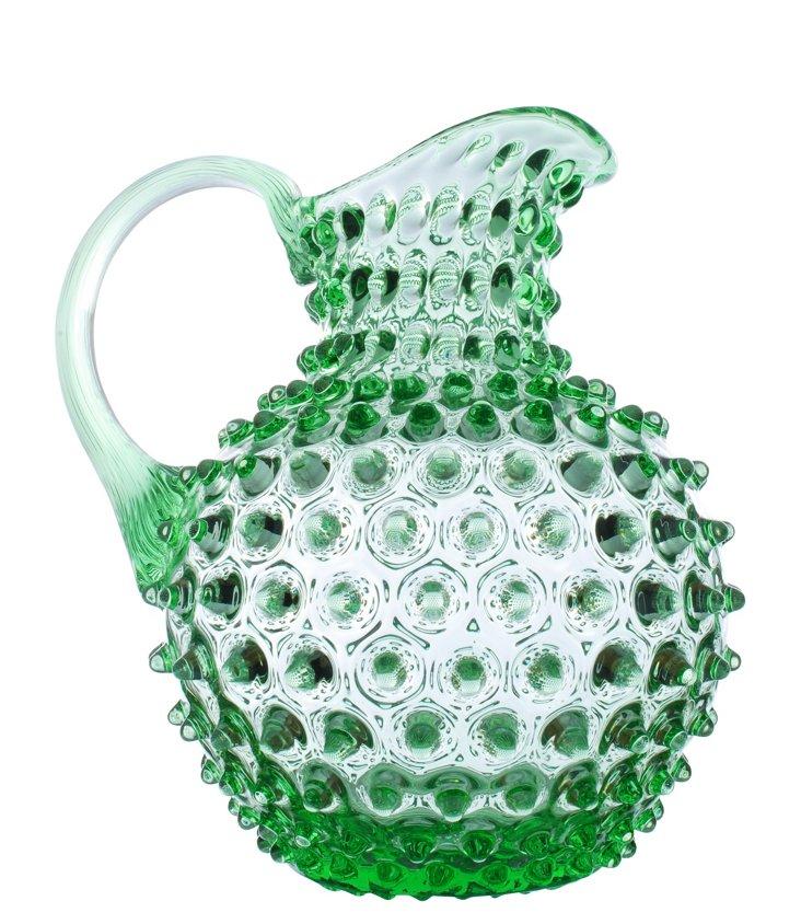 Glass Pitcher w/ Diamond Tip, Green