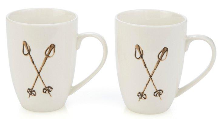 S/2 Lapique Ski Sticks Mugs