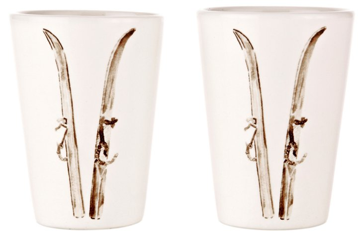S/2 Ski Espresso Cups