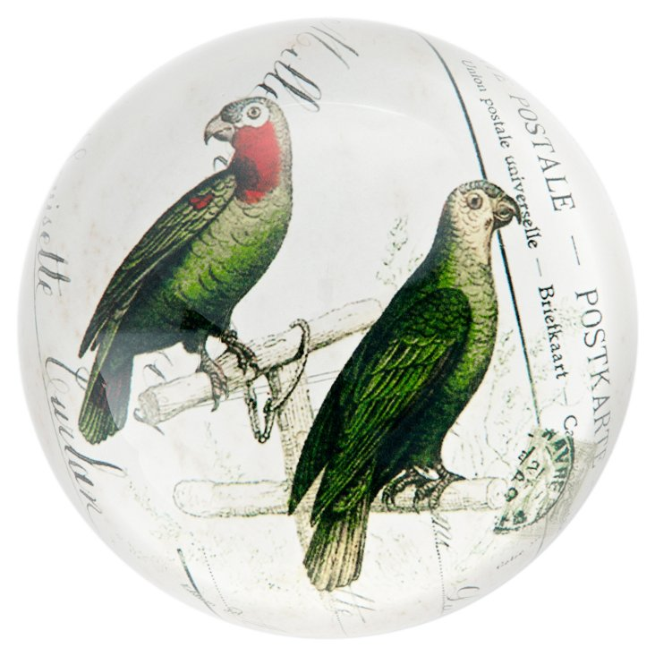 Glass Paperweight with 2 Parrots