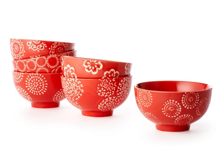 S/6 Small Red Flower Bowls