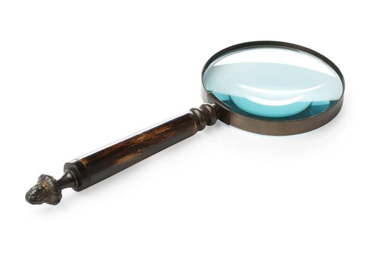 """4"""" Brass Magnifier w/ Horn & MOP Handle"""