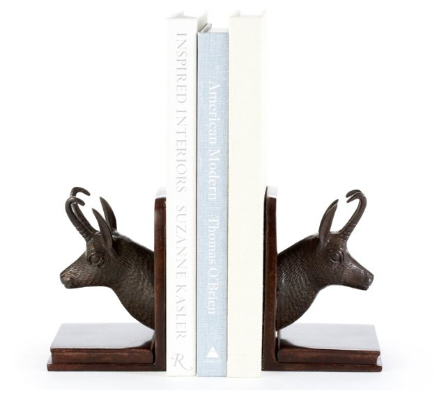 Pair of Bronze Chamois Bookends