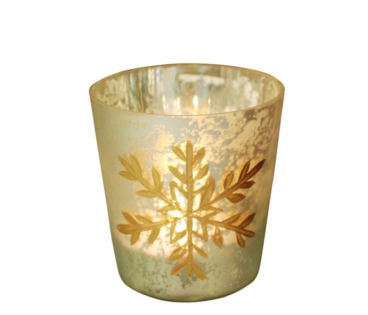 S/2 Votives w/ Frosted Snowflakes