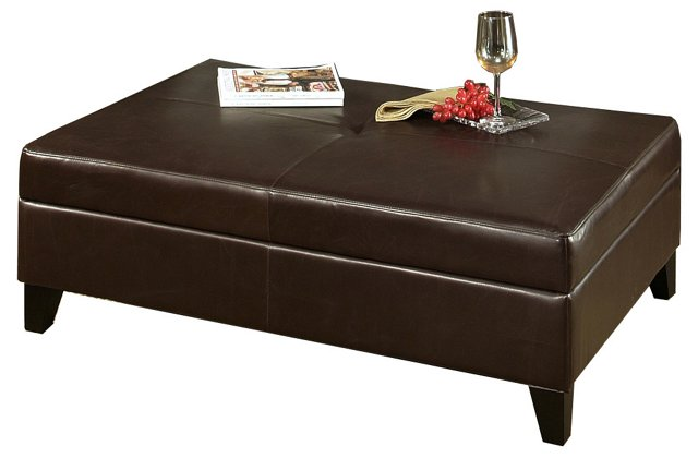 """Stewart 49"""" Leather Coffee Table, Brown"""