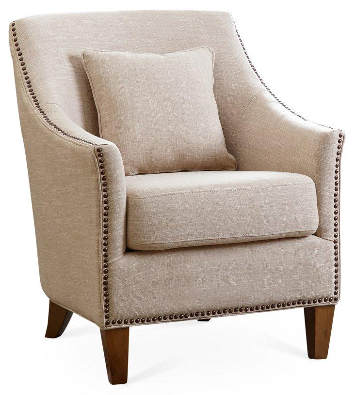 Carrie Linen Armchair, Cream
