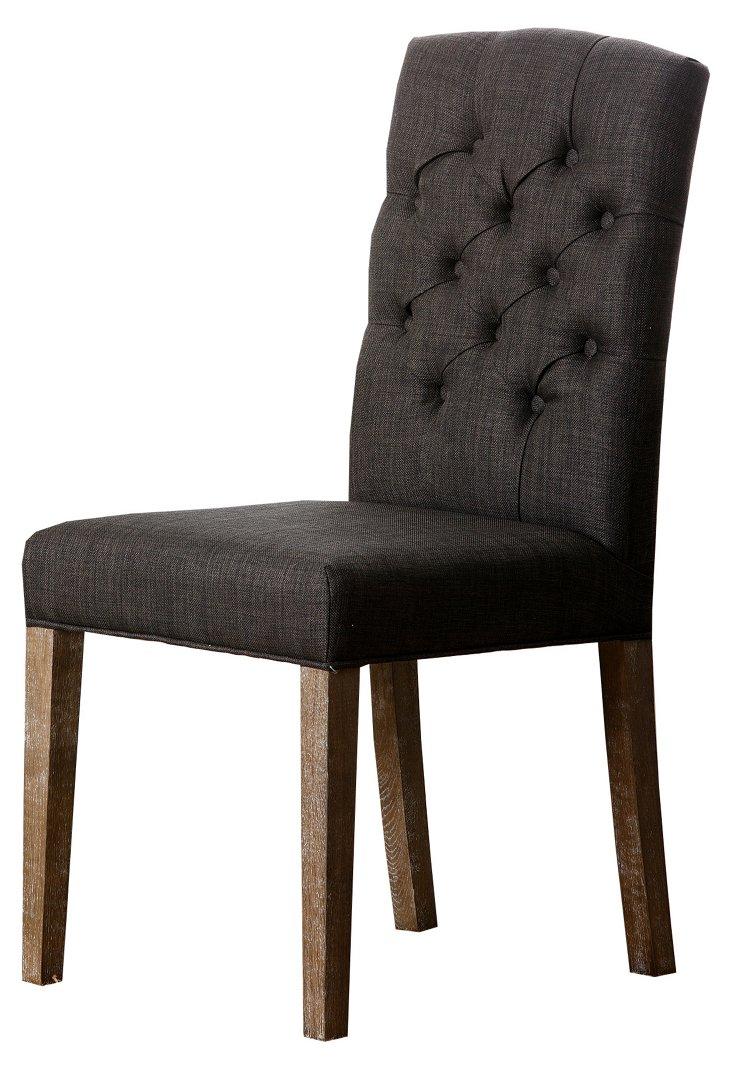 Chandler Linen Dining Chair, Gray