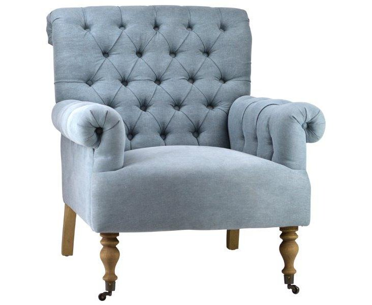 Eva Tufted Club Chair, Sky Blue Linen