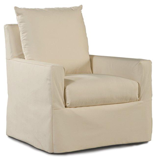 Elena Outdoor Swivel Chair, Cream