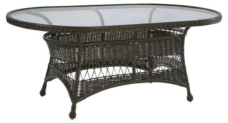 """Bar Harbor 75"""" Oval Glass Dining Table"""